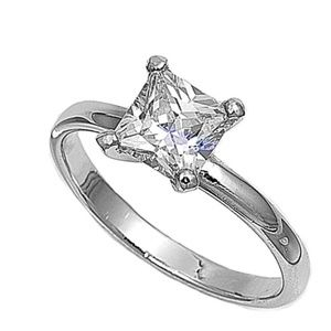 Size 6 Solitaire Princess cut Ring .925 Silver